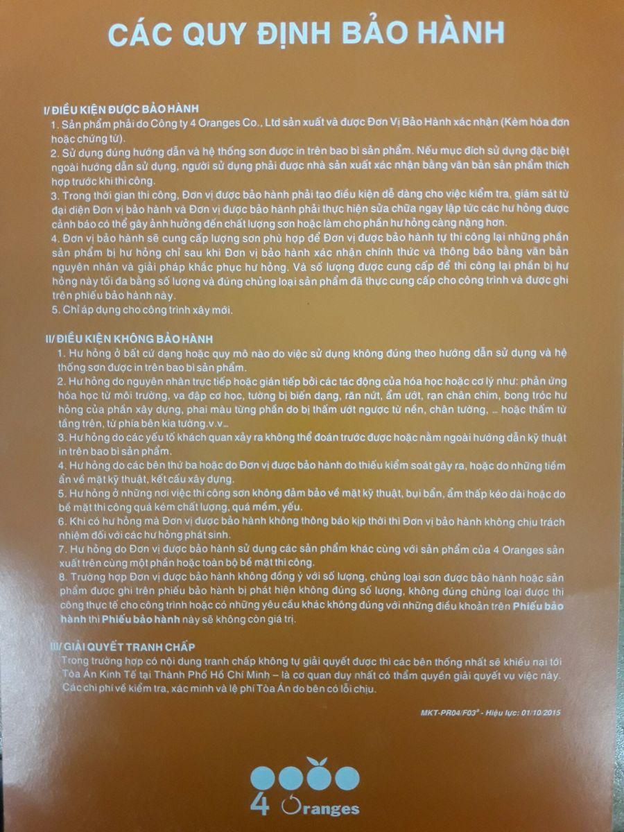 điều kiện bảo hành sơn mykolor